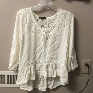 Off white blouse with lace accents